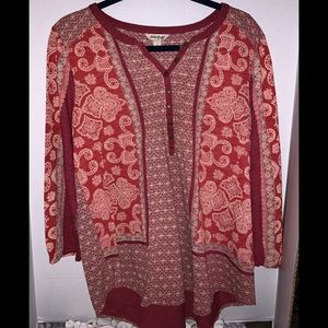 Lucky Brand red print top size large